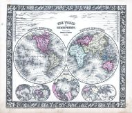 The World in Hemispheres with other Projections, World Atlas 1864 Mitchells New General Atlas